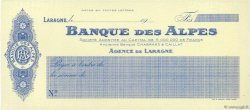 Francs FRANCE régionalisme et divers Laragne 1910 DOC.Chèque NEUF