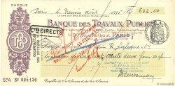 632,50 Francs FRANCE régionalisme et divers Paris 1935 DOC.Chèque SUP