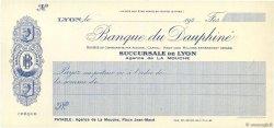 Francs FRANCE régionalisme et divers LYON 1930 DOC.Chèque SPL