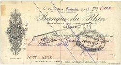 2000 Francs FRANCE régionalisme et divers PARIS 1927 DOC.Chèque B