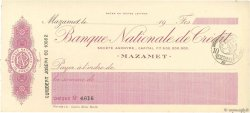 Francs FRANCE régionalisme et divers MAZAMET 1915 DOC.Chèque SPL
