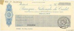 Francs FRANCE régionalisme et divers MOULINS 1915 DOC.Chèque SPL