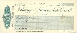 Francs FRANCE régionalisme et divers Nice 1915 DOC.Chèque SUP