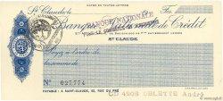 Francs FRANCE régionalisme et divers ST CLAUDE 1915 DOC.Chèque SPL