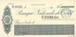 Francs FRANCE régionalisme et divers ST-AMAND 1915 DOC.Chèque NEUF
