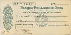 Francs FRANCE régionalisme et divers Lons-Le-Saunier 1936 DOC.Chèque SUP