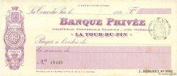 Francs FRANCE régionalisme et divers La Tour-Du-Pin 1924 DOC.Chèque SUP