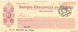 Francs FRANCE régionalisme et divers ROANNE 1915 DOC.Chèque SPL