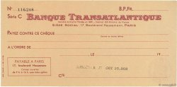 Francs FRANCE régionalisme et divers PARIS 1933 DOC.Chèque SPL