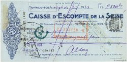 8500 Francs FRANCE régionalisme et divers MONTREUIL SOUS BOIS 1933 DOC.Chèque