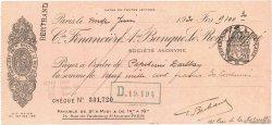 9100,30 Francs FRANCE régionalisme et divers PARIS 1931 DOC.Chèque TTB