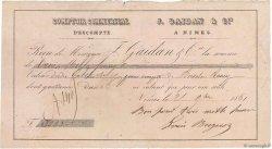 3000 Francs FRANCE régionalisme et divers NÎMES 1861 DOC.Reçu TTB