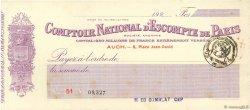 Francs FRANCE régionalisme et divers Auch 1920 DOC.Chèque SUP