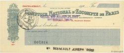 Francs FRANCE régionalisme et divers CHATELLERAULT 1920 DOC.Chèque TTB