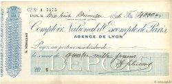4000 Francs FRANCE régionalisme et divers LYON 1896 DOC.Chèque SUP