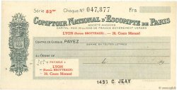 Francs FRANCE régionalisme et divers LYON 1933 DOC.Chèque SUP