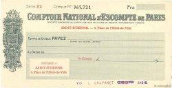 Francs FRANCE régionalisme et divers Saint-Étienne 1938 DOC.Chèque SPL