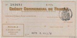 Francs FRANCE régionalisme et divers ARCACHON 1933 DOC.Chèque SUP