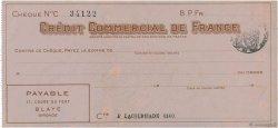 Francs FRANCE régionalisme et divers Blaye 1933 DOC.Chèque SUP