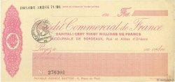 Francs FRANCE régionalisme et divers BORDEAUX 1920 DOC.Chèque SUP