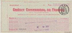Francs FRANCE régionalisme et divers Draguignan 1933 DOC.Chèque SUP