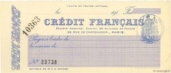 Francs FRANCE régionalisme et divers Paris 1910 DOC.Chèque NEUF
