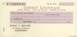 Francs FRANCE régionalisme et divers ANTIBES 1933 DOC.Chèque SPL