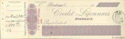 Francs FRANCE régionalisme et divers BORDEAUX 1895 DOC.Chèque SUP