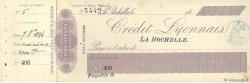Francs FRANCE régionalisme et divers LA ROCHELLE 1896 DOC.Chèque SUP