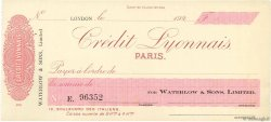 Francs FRANCE régionalisme et divers LONDRES (GRANDE-BRETAGNE) 1920 DOC.Chèque SPL