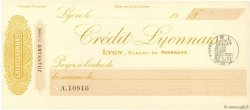 Francs FRANCE régionalisme et divers Lyon 1900 DOC.Chèque SPL