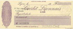 Francs FRANCE régionalisme et divers Lyon 1915 DOC.Chèque NEUF