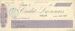 Francs FRANCE régionalisme et divers ORAN (ALGÉRIE) 1900 DOC.Chèque SUP