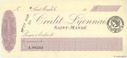 Francs FRANCE régionalisme et divers SAINT-MANDÉ 1915 DOC.Chèque SPL