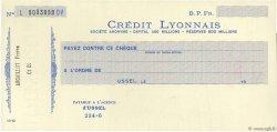 Francs FRANCE régionalisme et divers USSEL 1930 DOC.Chèque SUP