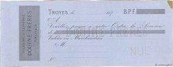 Francs FRANCE régionalisme et divers TROYES 1870 DOC.Chèque SUP