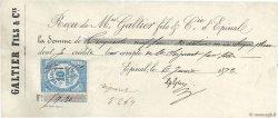 59,30 Francs FRANCE régionalisme et divers ÉPINAL 1872 DOC.Reçu TB