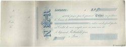 Francs FRANCE régionalisme et divers LONDRES (GRANDE-BRETAGNE) 1865 DOC.Chèque TTB