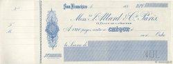 Francs FRANCE régionalisme et divers SAN FRANCISCO (ÉTATS-UNIS) 1880 DOC.Chèque SUP