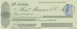 Francs FRANCE régionalisme et divers PARIS 1874 DOC.Chèque SPL