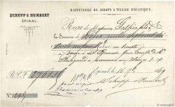 2761,15 Francs FRANCE régionalisme et divers Épinal 1869 DOC.Reçu TTB