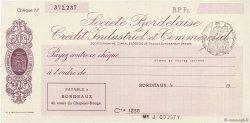 Francs FRANCE régionalisme et divers BORDEAUX 1933 DOC.Chèque SPL
