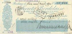 10000 Francs FRANCE régionalisme et divers Bordeaux 1901 DOC.Chèque SUP
