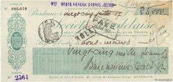 25000 Francs FRANCE régionalisme et divers BORDEAUX 1907 DOC.Chèque TTB