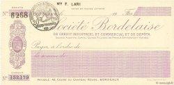 Francs FRANCE régionalisme et divers BORDEAUX 1915 DOC.Chèque SPL