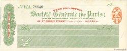 Livres Sterling FRANCE régionalisme et divers LONDRES (GRANDE-BRETAGNE) 1910 DOC.Chèque SUP