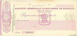 Francs FRANCE régionalisme et divers Thionville 1915 DOC.Chèque SUP