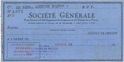 Francs FRANCE régionalisme et divers MEAUX 1937 DOC.Chèque SUP