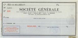 Francs FRANCE régionalisme et divers MOULINS 1924 DOC.Chèque SUP