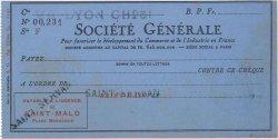Francs FRANCE régionalisme et divers Saint-Malo 1933 DOC.Chèque TTB